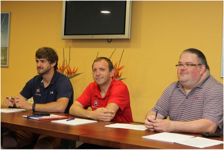 die Jury: Adler-Spieler Marc El Sayed, Athletik-Coach der Adler Martin Müller und der Sponsor von Seibel Laborbedarf Christoph Seibel