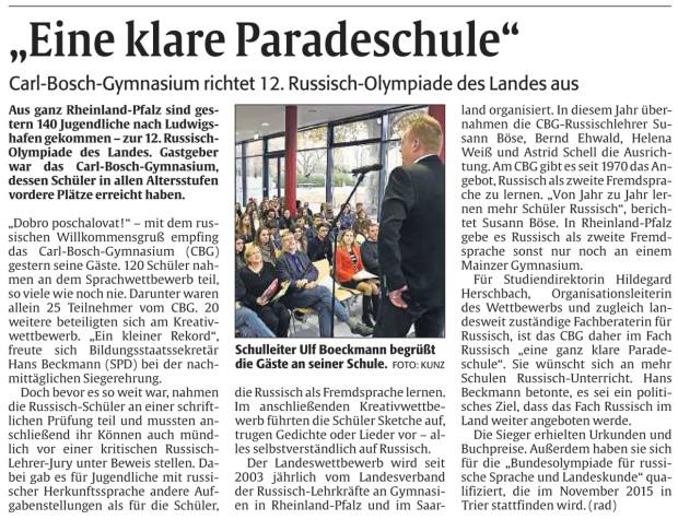 Bericht Rheinpfalz - Russisch-Olympiade am CBG