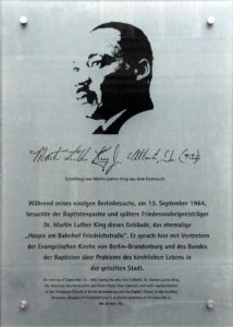 Martin Luther King [Gedenktafel in Berlin]